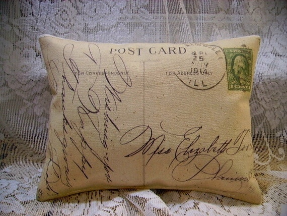 Shabby Vintage Aged 1914 PostCard  Canvas Accent Pillow (Style 19)