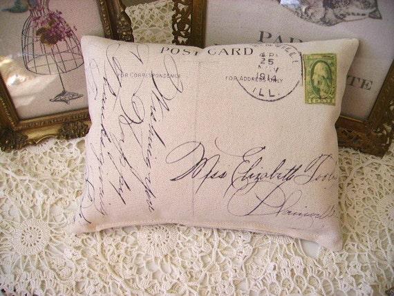 Shabby Vintage  Chic 1914 PostCard  Canvas Accent Pillow