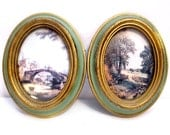 Vintage Art / Oval Italian Landscape Print Wall Hangings / Romantic / Victorian Style