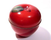Vintage Apple Tin / Red Tin Metal Box Canister Container with Lid