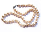 Vintage Pearl Necklace, Ivory Glass Faux Pearl Beads, Costume Jewelry