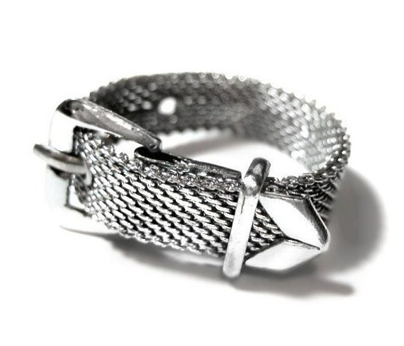 vintage silver mesh belt ring costume jewelry