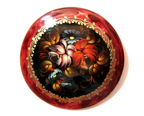 Vintage Brooch,Tole Painted Lacquer, Jewelry