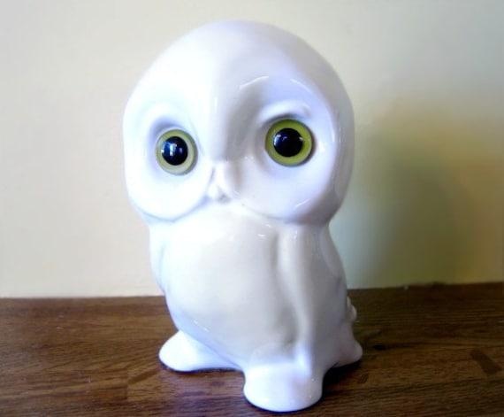 Vintage White Ceramic Owl Figurine Retro Kitsch