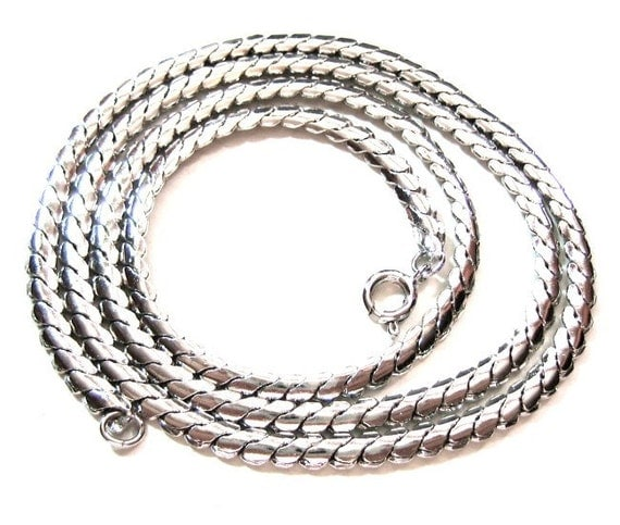 Vintage Chain Necklace, Silver Metal