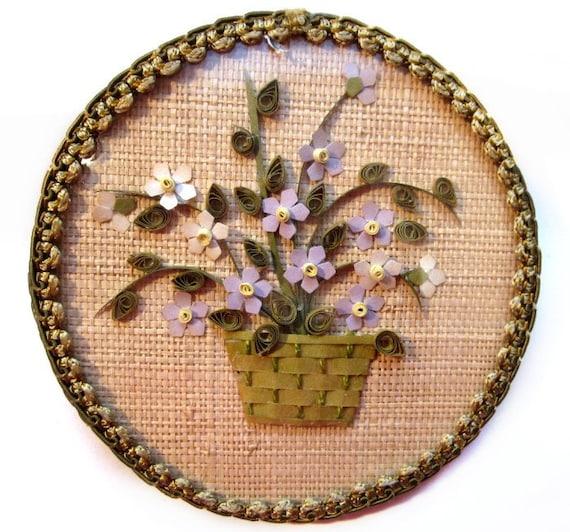 Handmade Basket Paper : Handmade paper art flower basket convex by vintagepennylane