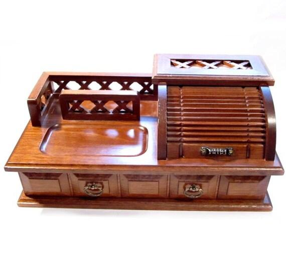 Vintage Brown Wood Desk Organizer / Jewelry Box / Catch-All Organizer