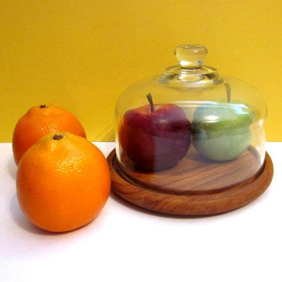 RESERVED //// Cheese Tray, Glass Dome, Teak Wood Block