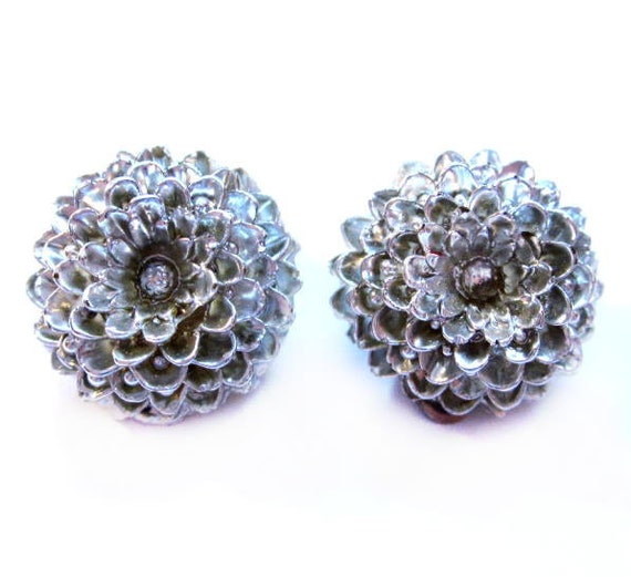 Vintage Silver Earrings, Celluloid Flower Clip-ons