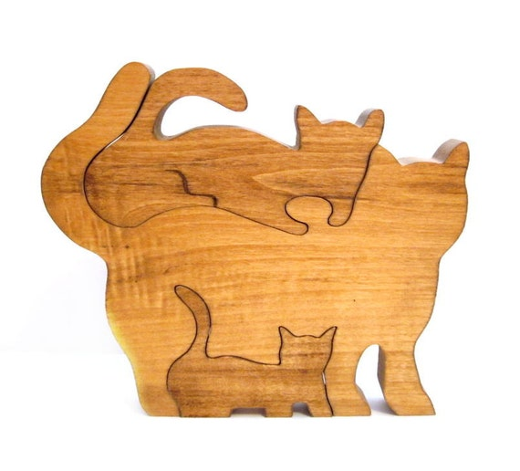 Vintage wood puzzle handmade cat kitten toy by