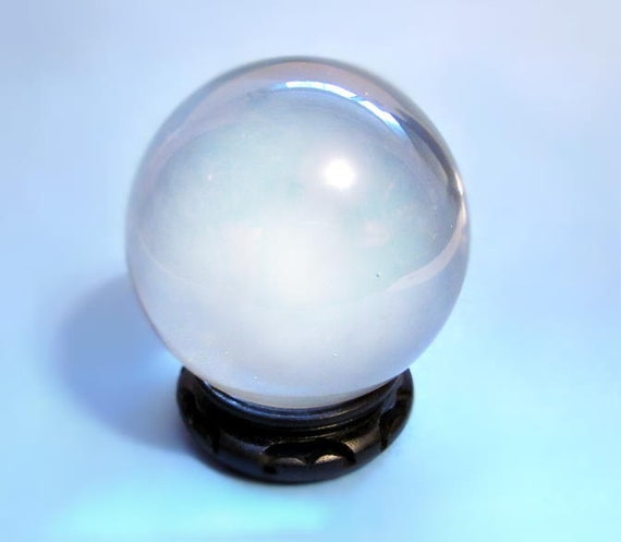 Vintage Clear Crystal Glass Gazing Ball Globe Orb Paperweight