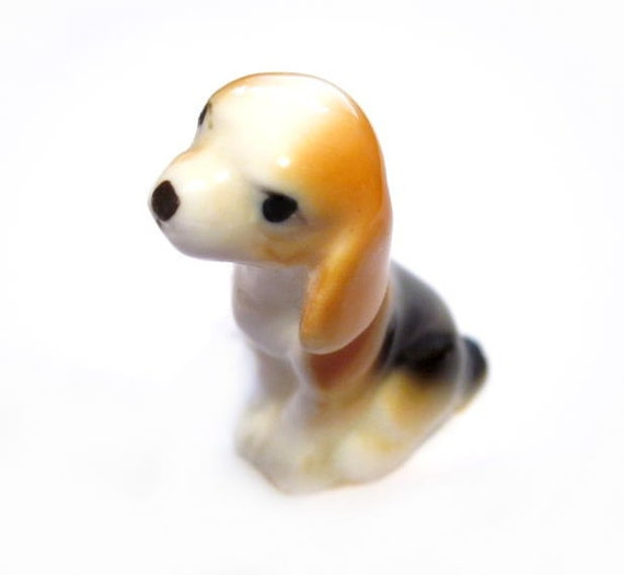 Vintage Porcelain Dog Figurine, Tiny Mini Miniature Ceramic Puppy Dog