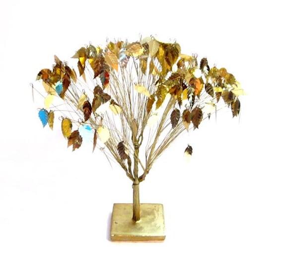 Vintage Gold Metal Wire Foil Leaf Tree Decorative Sculpture