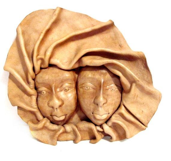Vintage Tooled Leather Mask, Face Sculpture, Folk Art