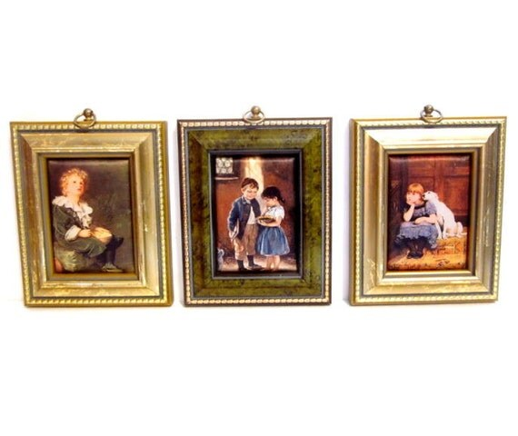 Vintage Silk Art / 3 Padded Silk Fabric Pictures / Wall Hangings