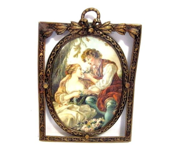 Vintage Brass Frame, Victorian Cameo Print Wall Hanging