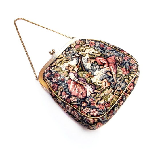Vintage Needlepoint  Purse, Retro Tapestry Handbag Clutch