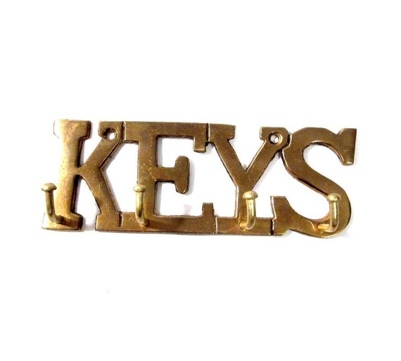 Wall Decor With Key Hooks : Vintage key holder brass hook wall hanging home decor