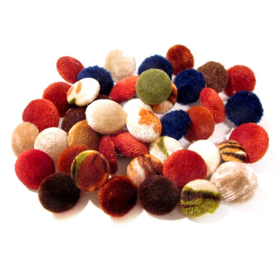 Vintage Button Lot, Fuzzy Fabric Covered