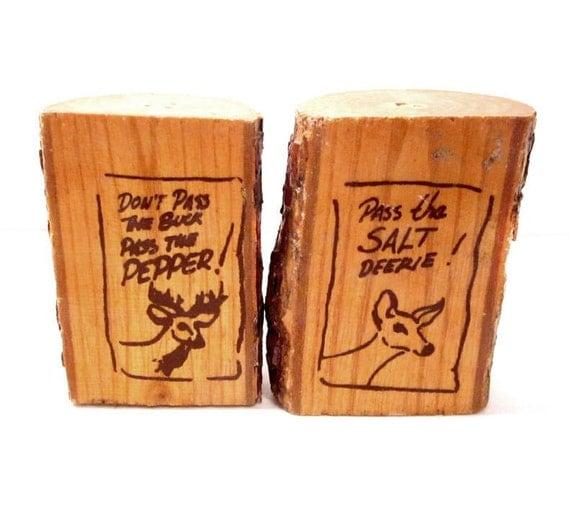 Vintage Deer Salt and Pepper Shakers, Handmade Wood