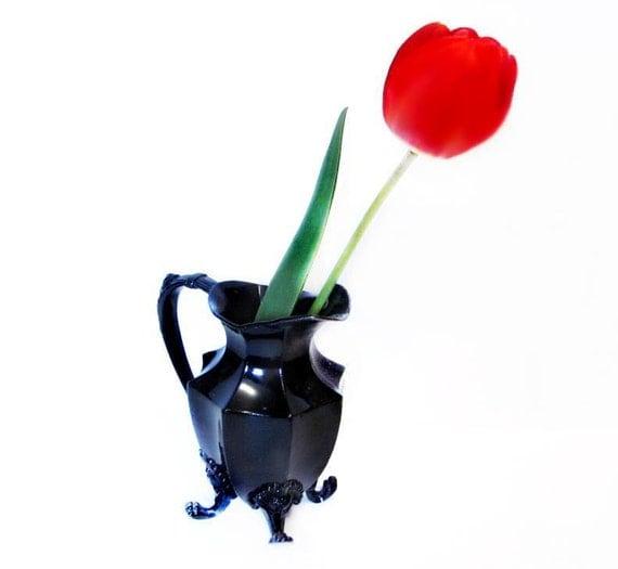 Vintage Decorative Vase, Black Iron Pitcher