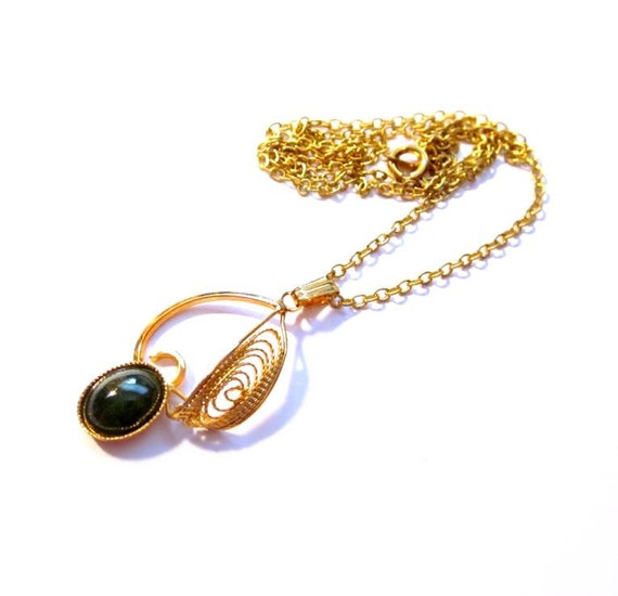 Vintage Jade Necklace, Gold Chain, Green Gemstone Filigree Pendant, Costume Jewelry