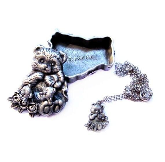 Vintage Pewter Jewelry Set, Silver Torino Teddy Bear Trinket Box