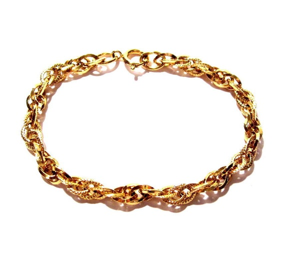 Vintage Chain Bracelet, Gold Metal Rope Chain, Costume Jewelry
