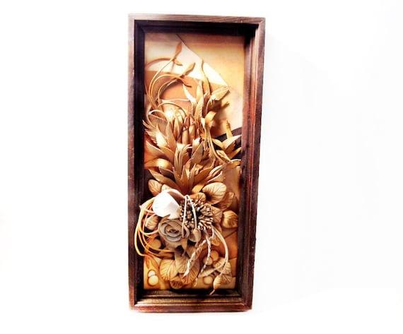 ... Tooled Leather Art, 1980's Wood Framed Folk Art Flower Wall Hanging