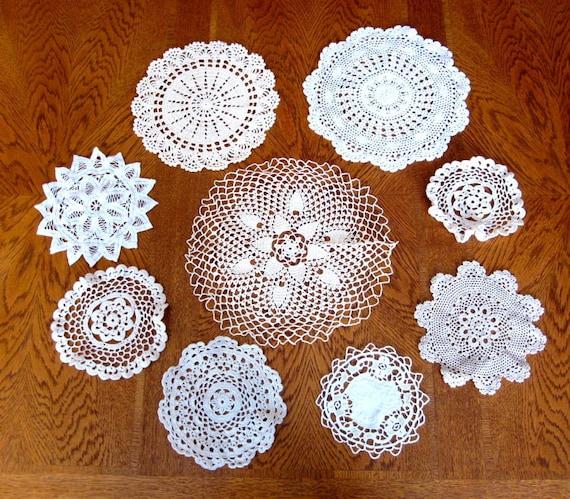 Vintage Crocheted Doilies / Doily Lot / 9 Vintage Estate Hand Crochet Doilies