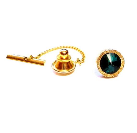 Vintage Tie Pin, Gold Green Glass Rivoli Rhinestone Tack / Lapel Pin, Costume Jewelry