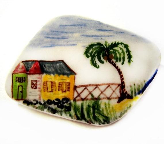 Vintage Porcelain Brooch, Folk Art Painting Pin