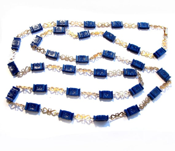Vintage Bead Necklace, Blue Lucite Beaded Gold Chain, Costume Jewelry