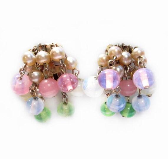 Vintage Cluster Bead Earrings, Pastel Glass
