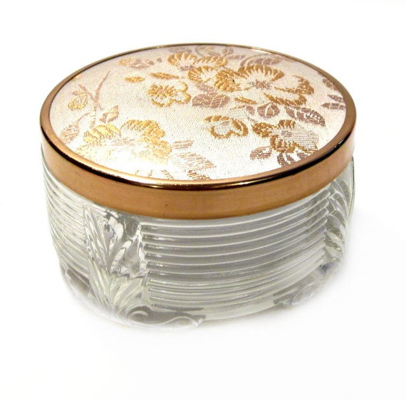 Vintage Glass Powder Jar, Trinket Box, Jewelry Box, Gold Thread Needlepoint Floral Lid