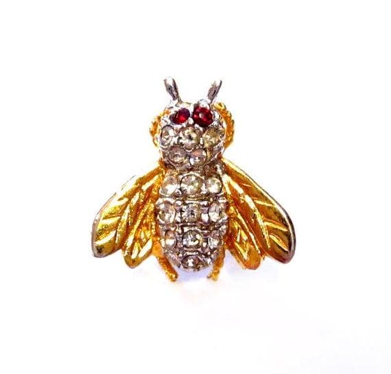 Vintage Rhinestone Bumble Bee Pin