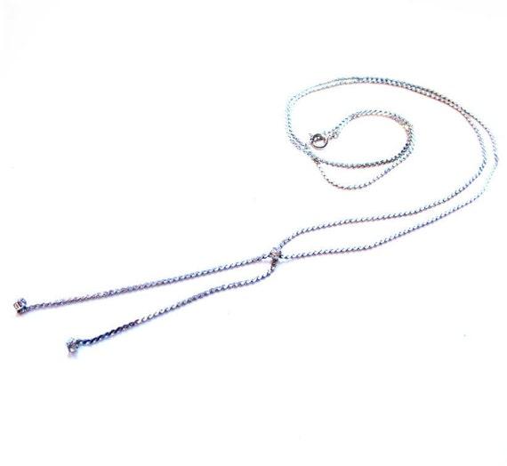 Rhinestone Necklace, Silver Bolo Chain