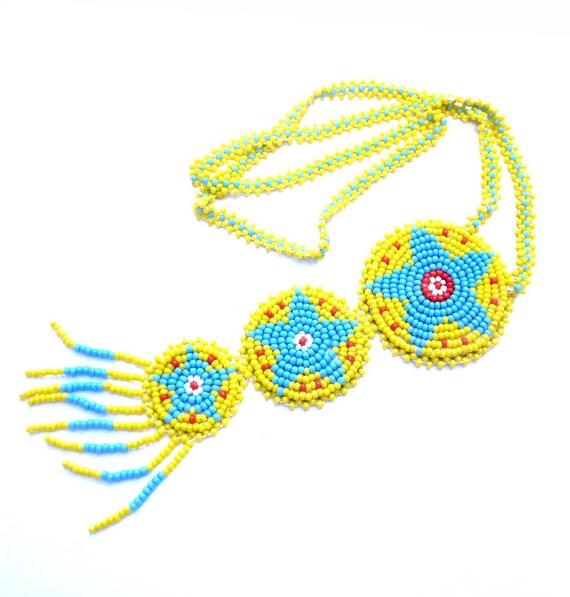 Vintage Bead Necklace, Yellow Native American Glass Seed Beadwork, Handmade Jewelry