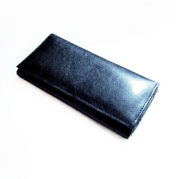 Vintage Leather Wallet, Clutch Purse, Black Wallet