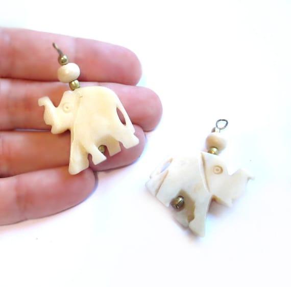 Vintage Bone Charms, Carved Ivory Elephant Bead Pendants