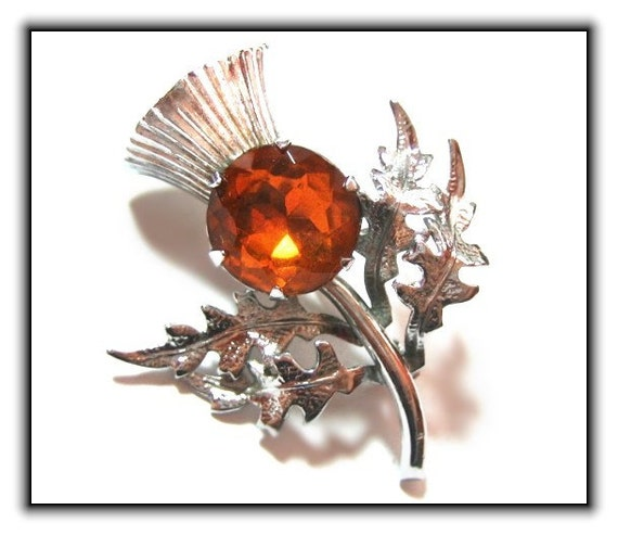 Vintage Amber Rhinestone Scottish Thistle Brooch
