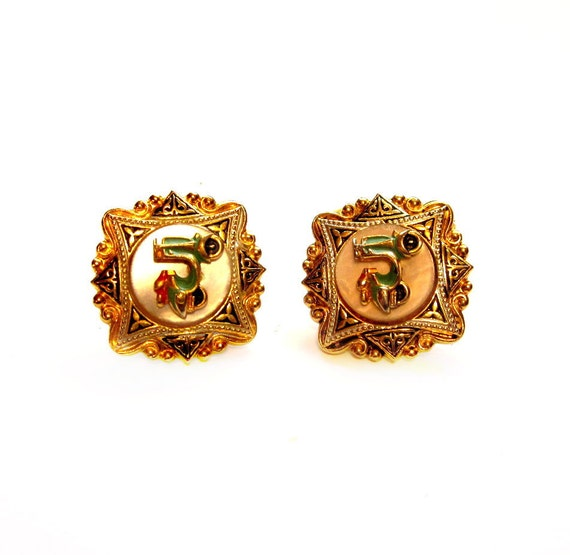 Vintage Damascene Cufflinks, Gold Metal Vespa Lucite Cuff Links, Costume Jewelry