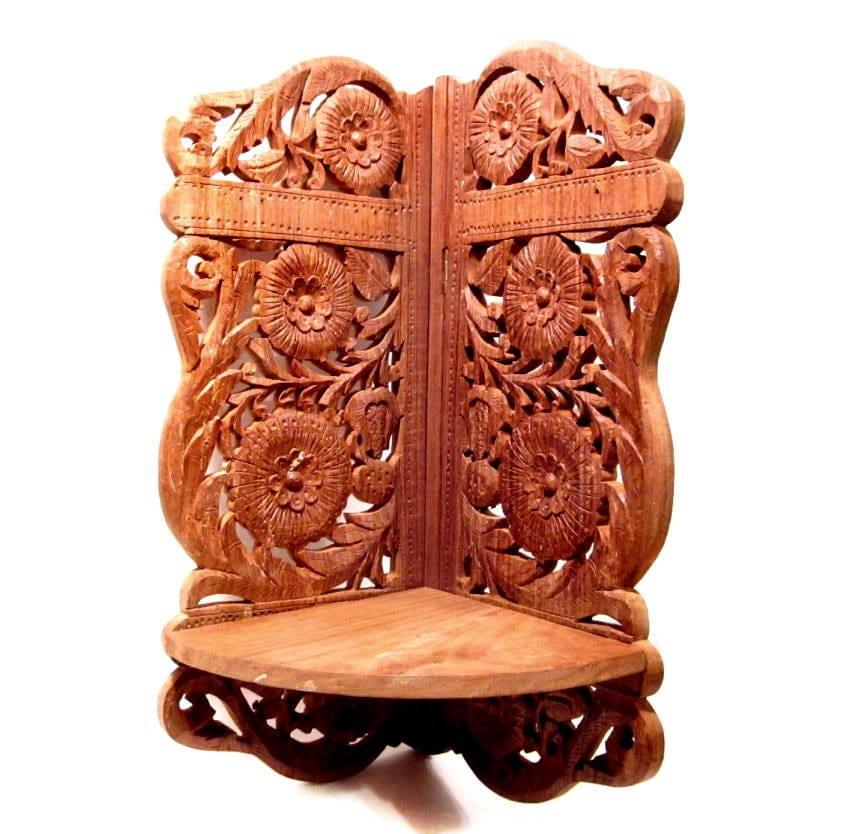 Hand Carved Bookshelf ~ Vintage wood shelf indian hand carved folding corner
