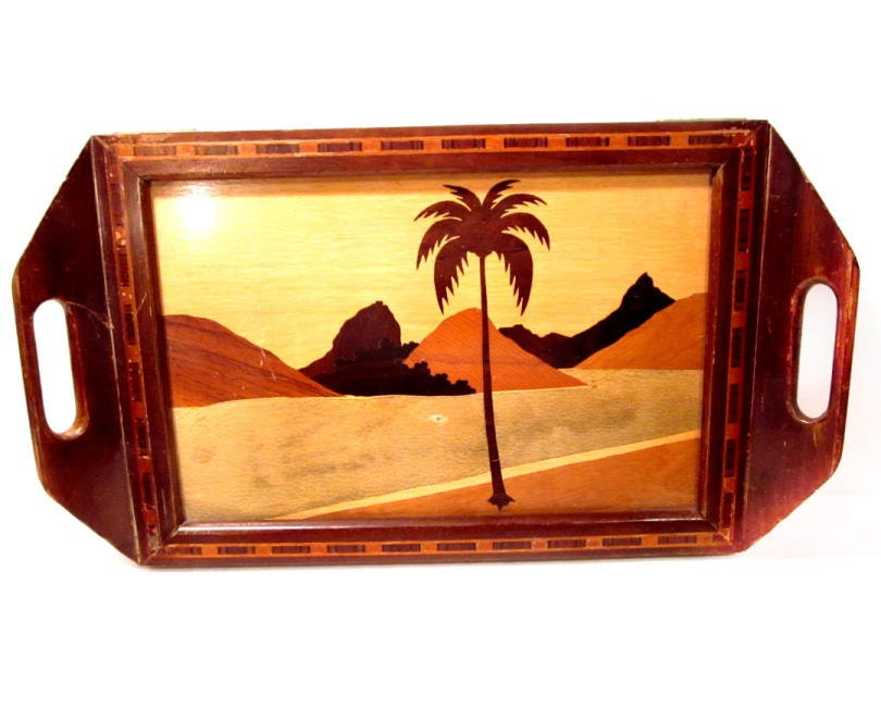 Vintage Wooden Tray Brazil Handmade Wood Inlay Tropical Palm