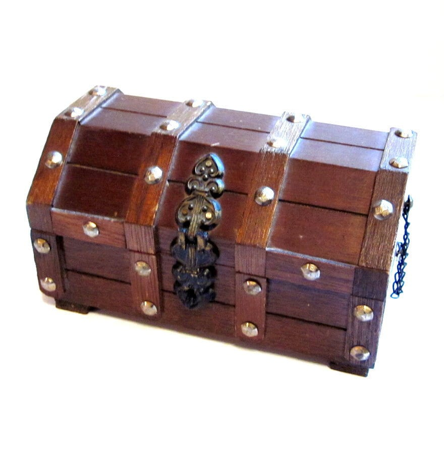 Wood Pirate Chest ~ Vintage jewelry box pirate s wood chest trinket treasure