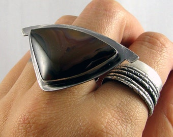 READY TO SHIP - Sterling Silver Cocktail Ring - Hammerhead with Piranha Agate - Size 6.5