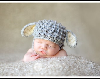 Custom Crochet Baby Lamb Chin Strap Hat