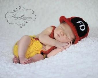 Custom Crochet Little Firefighter Set