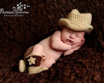Custom Crochet Little Cowboy Set