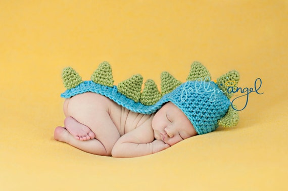 Custom Crochet Long Tail Dinosaur Baby Beanie Hat